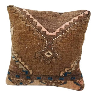 "Vintage Turkish Rug Pillow Cover 19-1/2"" Square For Sale"