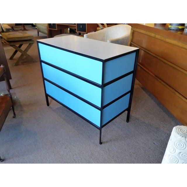 Herman Miller George Nelson Mid-Century Modern Steel Frame Blue and Black Dresser for Herman Miller, 1960s For Sale - Image 4 of 13