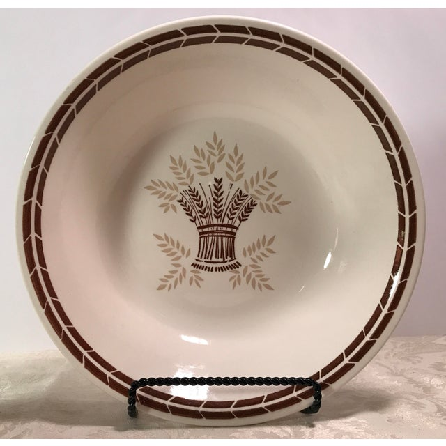 Mid-Century Modern Cream & Brown Wheat Serving Bowl - Image 4 of 8