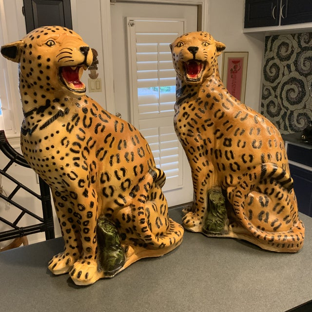 1950s Vintage Life Size Chalkware Leopards - A Pair For Sale - Image 4 of 9