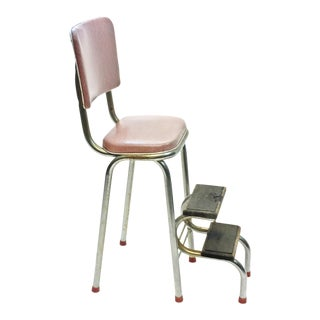 Mid Century Pink Vinyl & Metal Folding Step Stool
