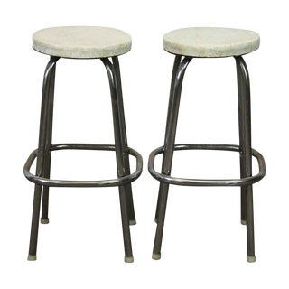 Round White Vinyl Metal Stools - A Pair For Sale