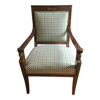 French Directoire Green Armchair For Sale