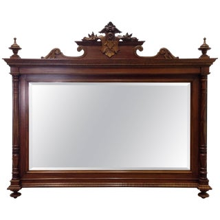 George IV Period Walnut Carved Horizontal Mirror For Sale