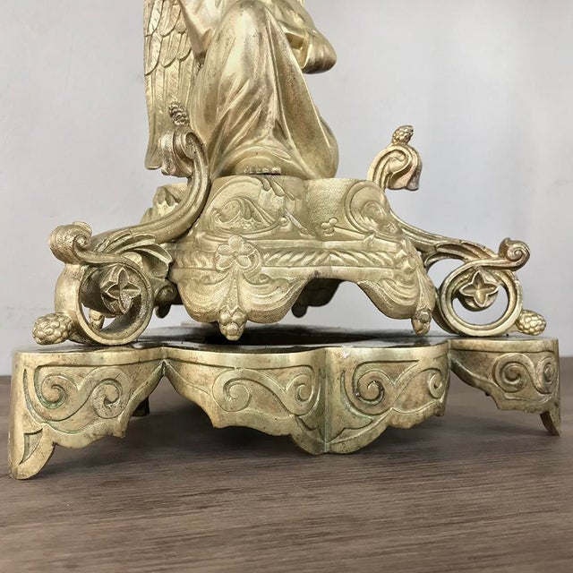 Pair 19th Century Bronze Candlesticks With Angels ~ Napoleon III Period For Sale In Dallas - Image 6 of 13