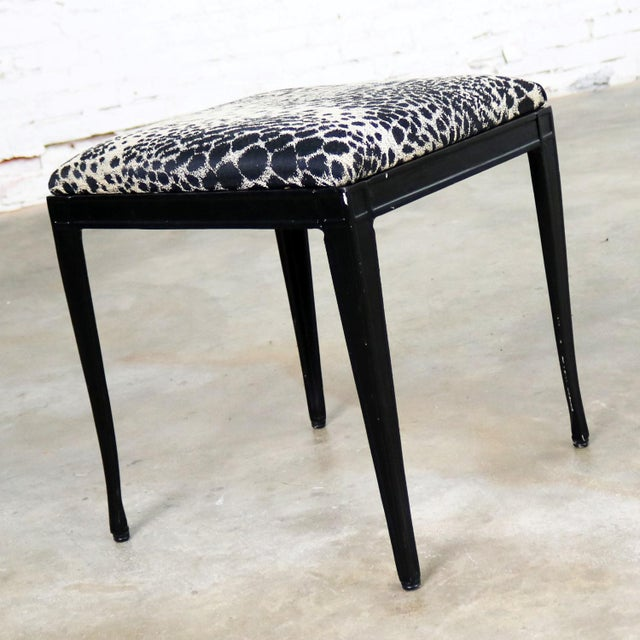 Black Art Deco and Animal Print Bench Ottoman Footstool Cast Aluminum by Crucible For Sale - Image 4 of 11