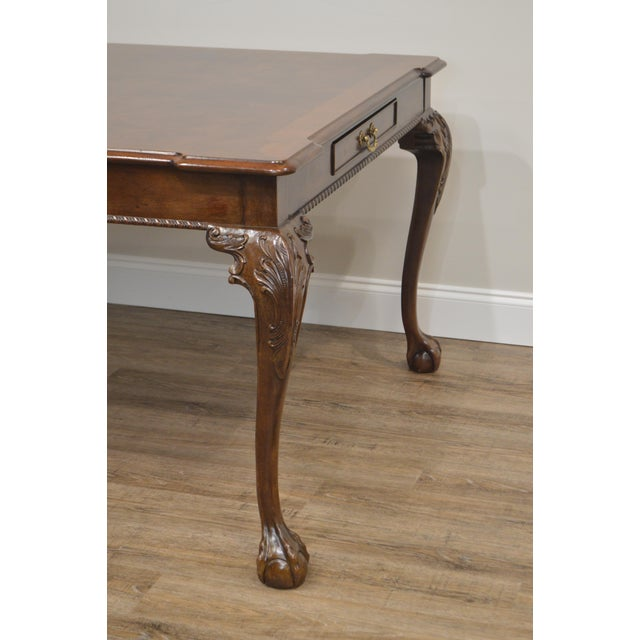 1990s Henredon Rittenhouse Square Collection Mahogany Chippendale Ball & Claw Banded Dining Table For Sale - Image 5 of 13
