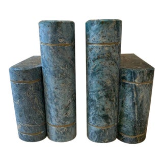 1960's Italian Green Marble Bookends - a Pair For Sale