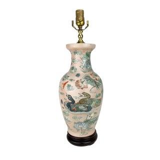 Japanese Ducks & Lotus Lake Vase Lamp