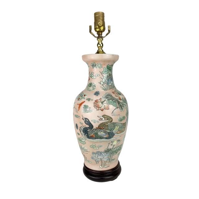 Japanese Ducks & Lotus Lake Vase Lamp For Sale