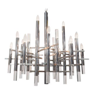Mid-Century Chrome and Lucite Segment Chandelier by Gaetano Sciolari For Sale
