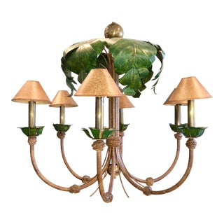 1990s Traditional Palm Tree Detailed Tole Chandelier For Sale