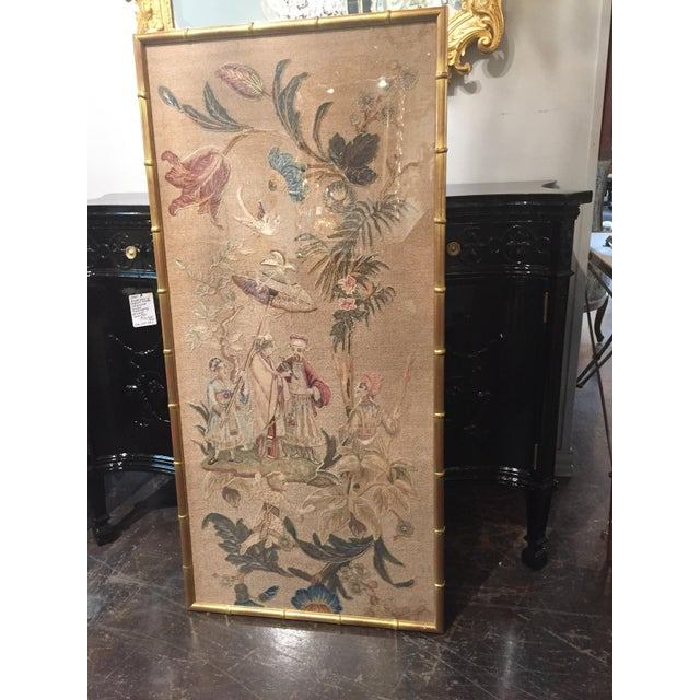 Set of 3 unique English silk embroideries featuring Chinese scenes. Beautiful muted colors in lovely gilt frames, circa 1900.