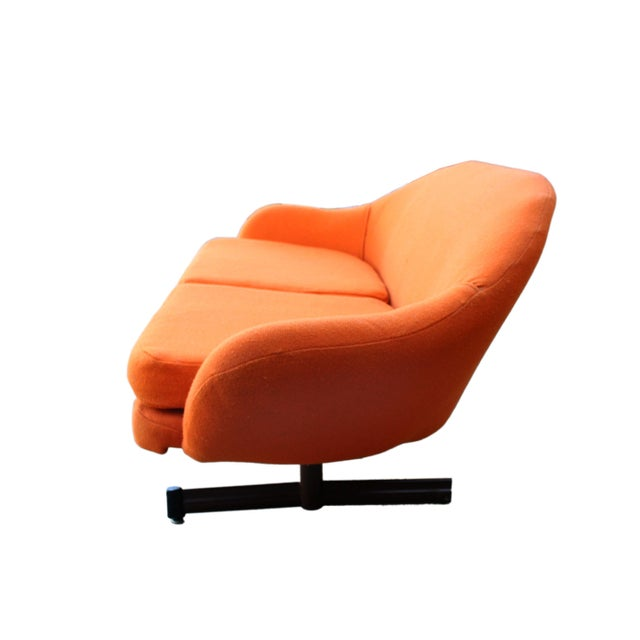 Ethan Allen Mid-Century Mod Viko Baumritter Biomorphic Free Form Tangerine Orange Couch For Sale - Image 4 of 9