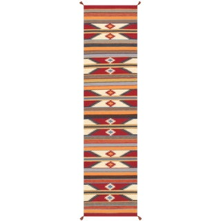 Contemporary Navajo Style Wool Runner Rug - 2′5″ × 10′1″ For Sale