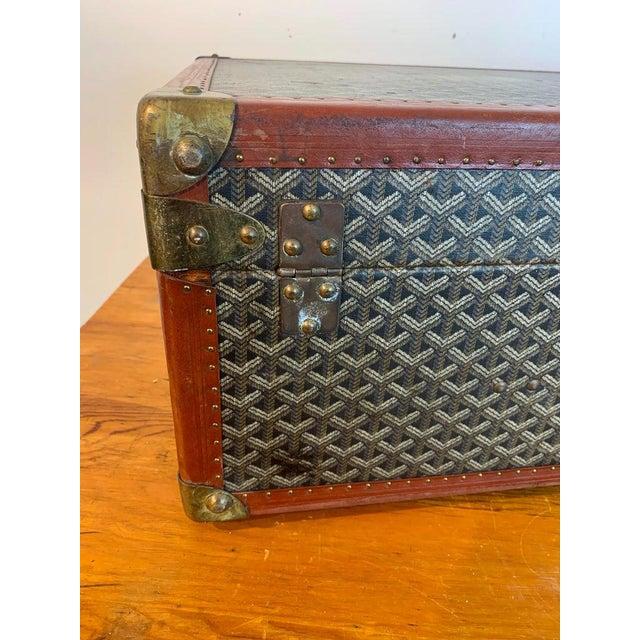 Brown Vintage Goyard Hardcase Trunk on Iron Stand For Sale - Image 8 of 13