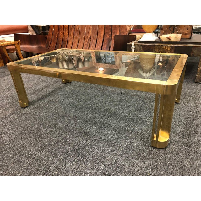 1970s Italian Brass Coffee Table With Great Design For Sale In Philadelphia - Image 6 of 11
