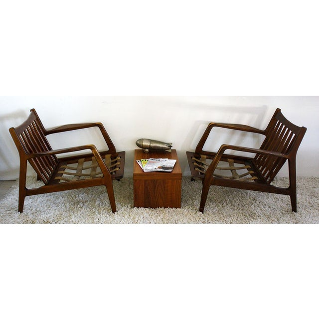 Distressed Pair of IB Kofod Danish Lounge Chairs For Sale - Image 4 of 8