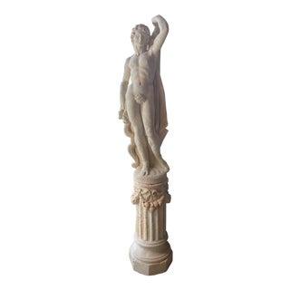 1920s Limestone Male Figure Statue on Plinth For Sale