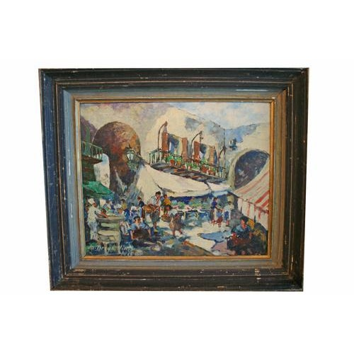1920s Oil on Board Painting of French Market, Signed Lower Left For Sale - Image 5 of 5