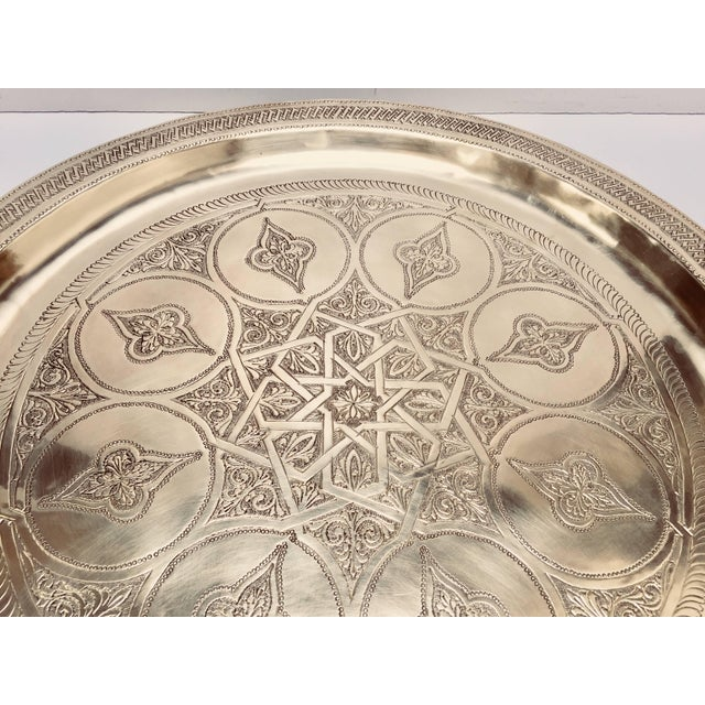 Gold Moroccan Polished Round Brass Tray For Sale - Image 8 of 13