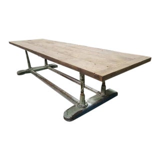 Large French Industrial Planed Oak Top and Iron Trestle Base Table For Sale
