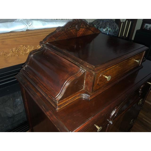 1930s Antique 1930's Burled Walnut Dresser Chest Bureau With Mounted Glove Box For Sale - Image 5 of 13