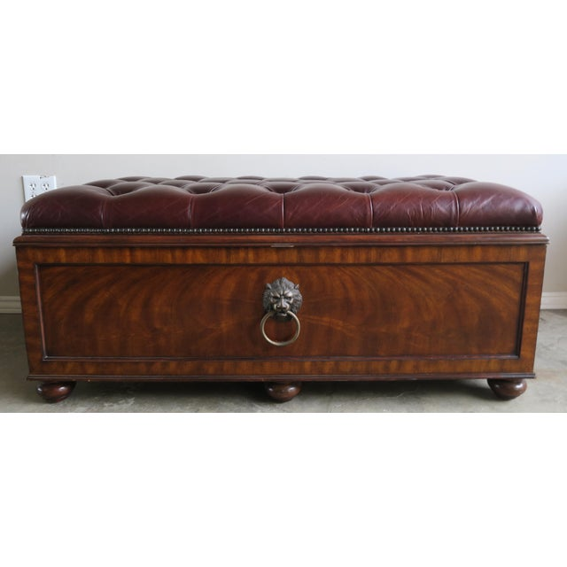 English Flamed Mohagany Leather Tufted Bench W/ Storage For Sale - Image 11 of 12