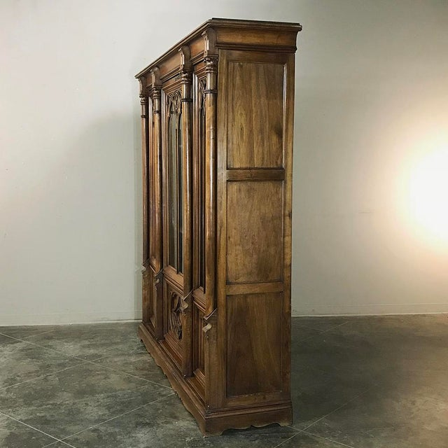 Walnut 19th Century Gothic Walnut Triple Bookcase For Sale - Image 7 of 12