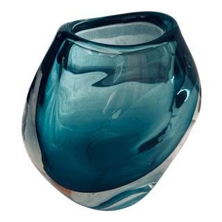 Modern Teal Hand Blown Vase For Sale