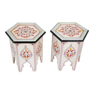 Moroccan Moorish Ivory Hand Painted Side Tables - a Pair For Sale