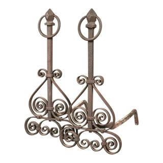 Early 20th C. Iron Andirons - a Pair For Sale