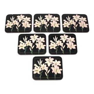 "Vintage ""Fleur on Black"" Lilies Beverage Coasters by Jason - Set of 6 For Sale"
