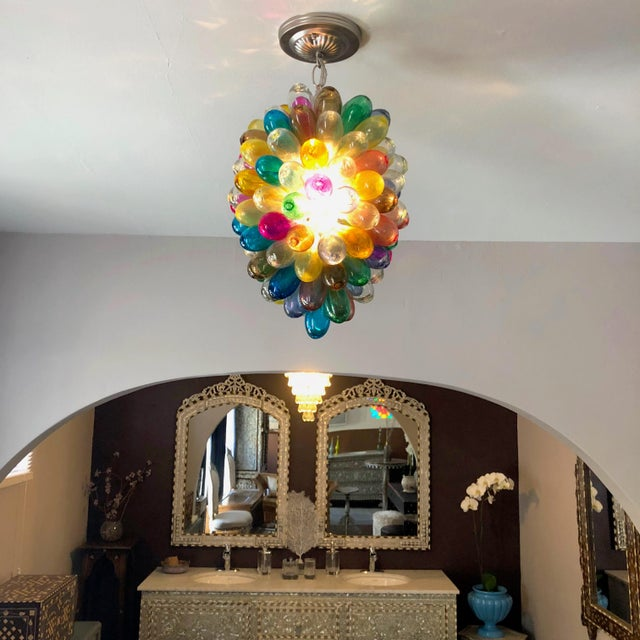 Blown Glass Light Fixture of Stained Hand Blown Glass For Sale - Image 7 of 10
