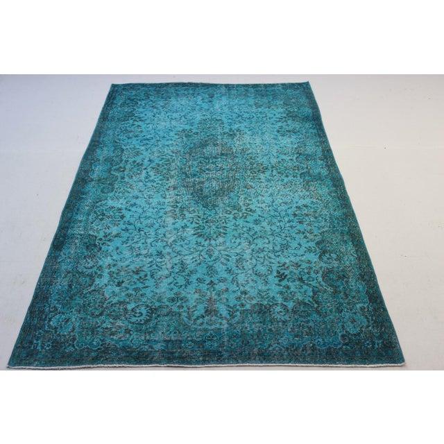 "Turkish Overdyed Turquoise Area Rug - 5'7"" X 9'1"" - Image 3 of 8"