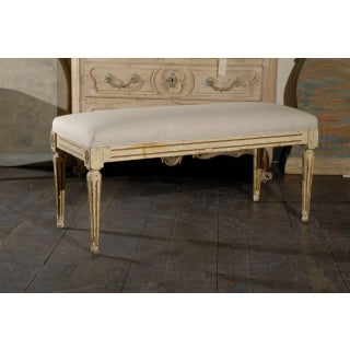 19th Century Vintage French Louis XVI Style Upholstered Bench Preview