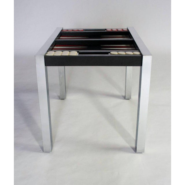 Chrome Paul Evans Directional Backgammon Game Table For Sale - Image 8 of 11