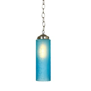Textured Blue Glass Pendant Light