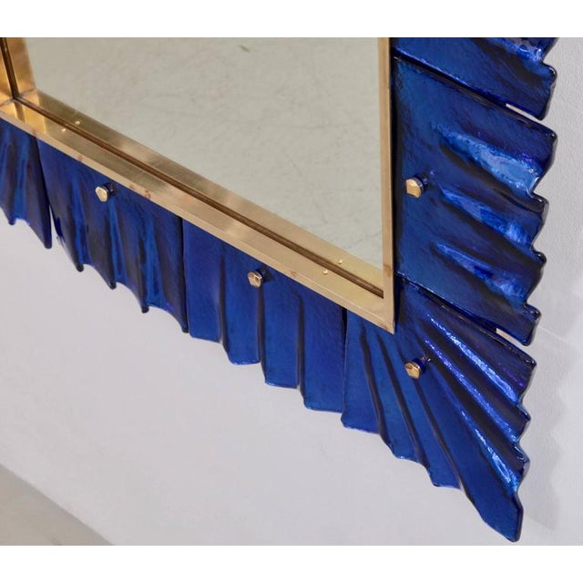 Hollywood Regency 1 of 2 Huge Brass and Blue Murano Glass Mirror For Sale - Image 3 of 6