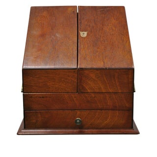Antique English Edwardian Mahogany and Brass Stationary Writing Desk Letter Box For Sale