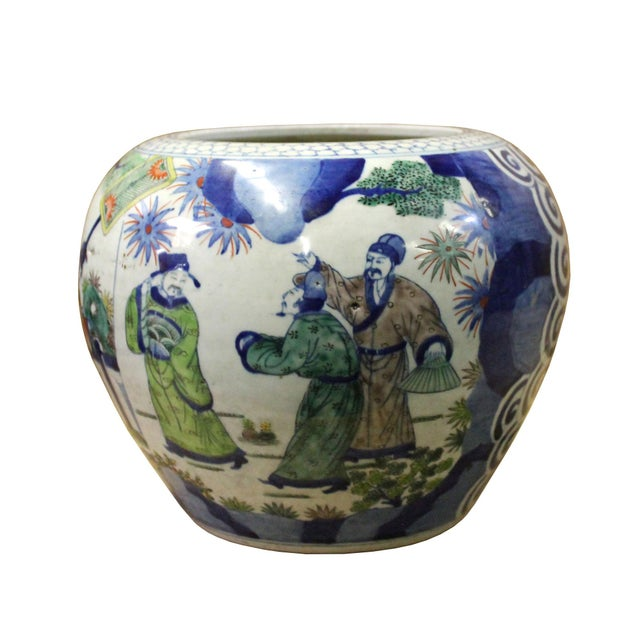 Chinese Oriental People Scenery Graphic Ceramic Vase Jar Pot For Sale In San Francisco - Image 6 of 9