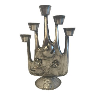 Vintage Distressed Metal 5 Light Candleabra For Sale