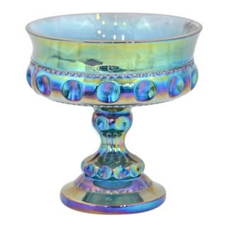 Iridescent Blue Pedestal Bowl For Sale
