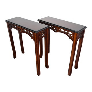 1980s Traditional Entryway Console Tables - a Pair For Sale