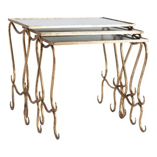 Trio of Mid-Century French Gilt Nesting Tables