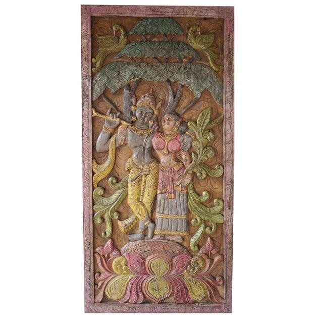 1990s Indian Carving Door Panel Krishna Radha Under Kadambari Tree Wall Relief Sculpture For Sale - Image 5 of 5