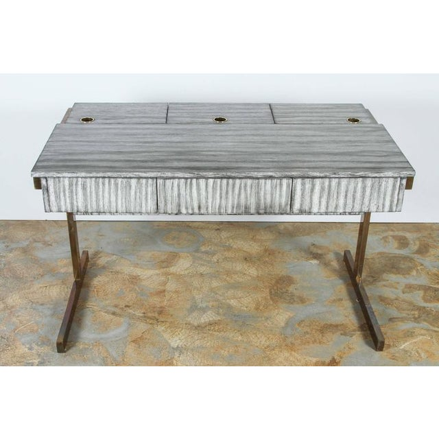 Paul Marra Writing – File Desk shown in oak with gray zebra finish. Three top flip-doors allow access to hanging-file...