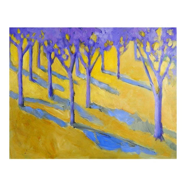 Purple & Yellow Landscape Painting For Sale