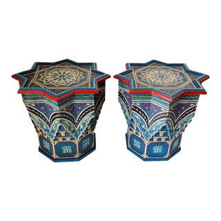 Mid 20th Century Moroccan Moorish Star Shape Blue Side Tables - a Pair For Sale