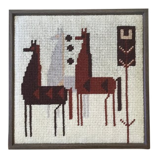 Vintage Scandinavian Needlepoint Tapestry For Sale